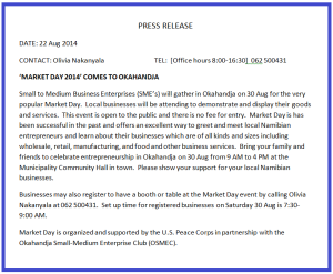 Market Day press release