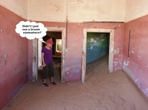 Barbara at Kolmanskop without a broom