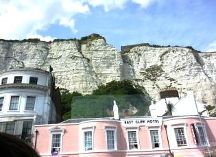 Dover Castle sits atop the white cliffs