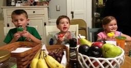 My nephew Marc's son Johnny [center] flanked by nephew Nick's kids Jake and Gianna = CUPCAKES!