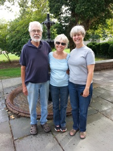 Barbara with my sister Bobi and her husband Ken walking around the Wesleyan campus. Middletown Connecticut
